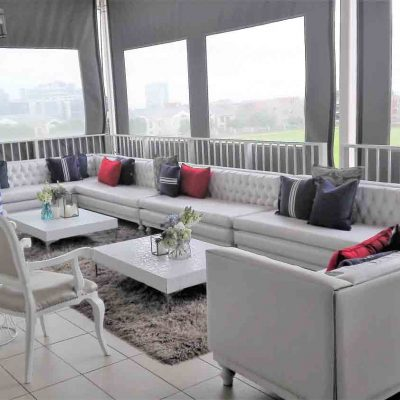 Lounge set up on patio with view